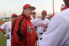 After 38 years as the Lamar Cardinals' head baseball coach, Jim Gilligan announced during a press conference Monday that he will retire at the end of the 2016 season. Lamar's head coach Jim Gilligan offers pre-game advice to his team before the start of their home opener against New Mexico State Friday night at Vincent Beck Stadium. Photo taken Friday, February 13, 2015 Kim Brent/The Enterprise   Manditory Credit, No Sales, Mags Out, TV Out, Web: AP Members only