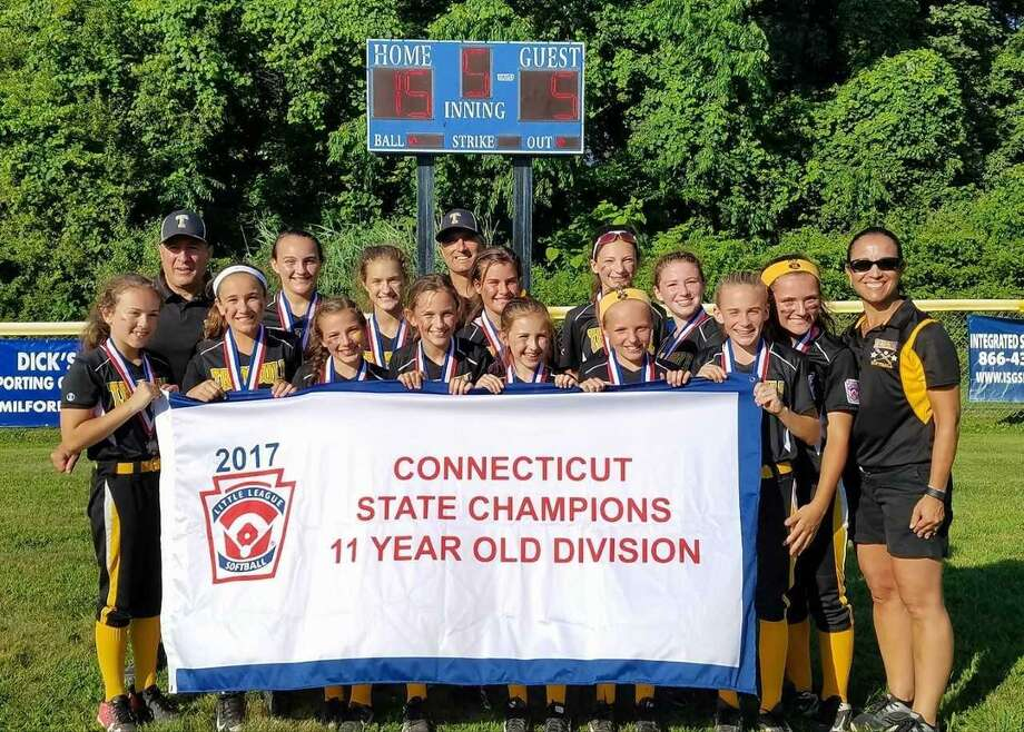 The Trumbull 11-year-old softball team won the state championship Sunday with a 15-5 victory over West Haven at Nelligan Field in Ansonia. Trumbull beat West Haven twice to win the title. Team members are, front row, Maddy Capone, Julia Masiak, Maura Carbone, Lia Goldstein, Ava Rose, Caroline Cummings and Kayla Barbagallo. Back row: coach Charlie Langworth, Lianna Weaver, Bella Socci, manager Tony Socci, Catie Langworth, Emma Turiano, Brooke Rubush, MJ Goncalves and coach Kristen Rubush. Photo: Contributed Photo