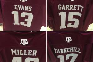 Texas A&M has the names of former players on the back of football jerseys in its Memorial Student Center bookstore. The players earn a cut of the profit.