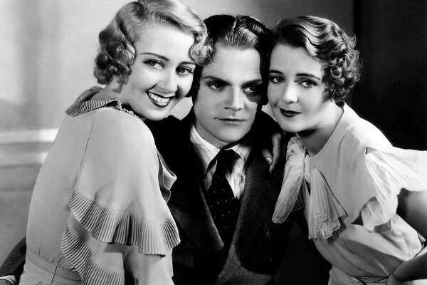 "Joan Blondell (left), James Cagney, and Ruby Keeler in ""Footlight Parade."""