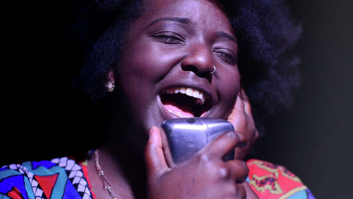 "Mahoganee Renee sings a Sharon Jones song for ""Dead Rock Star Sing-a-Long Club,"" a show put on by Houston's Rec Room."