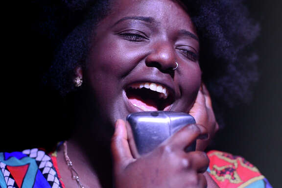 """Mahoganee Renee sings a Sharon Jones song for """"Dead Rock Star Sing-a-Long Club,"""" a show put on by Houston's Rec Room."""