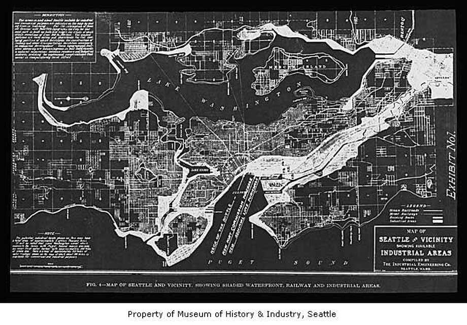 A map of Seattle as it appeared in 1912. Photo: Asahel Curtis / Museum Of History And Industry