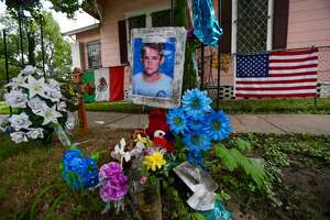 A memorial to 11 year-old Josue Flores still sits at the site where he was killed May 17 of last year at the intersection of Fulton and James Streets in Houston's Near Northside neighborhood, Tuesday, July 18, 2017. The Harris County District Attorney's Office announced Tuesday that they have dropped charges against Andre Jackson, who was being held as a suspect in Josue's death from a stabbing, because DNA evidence proved inconclusive in linking Jackson to the murder.  (Mark Mulligan / Houston Chronicle)