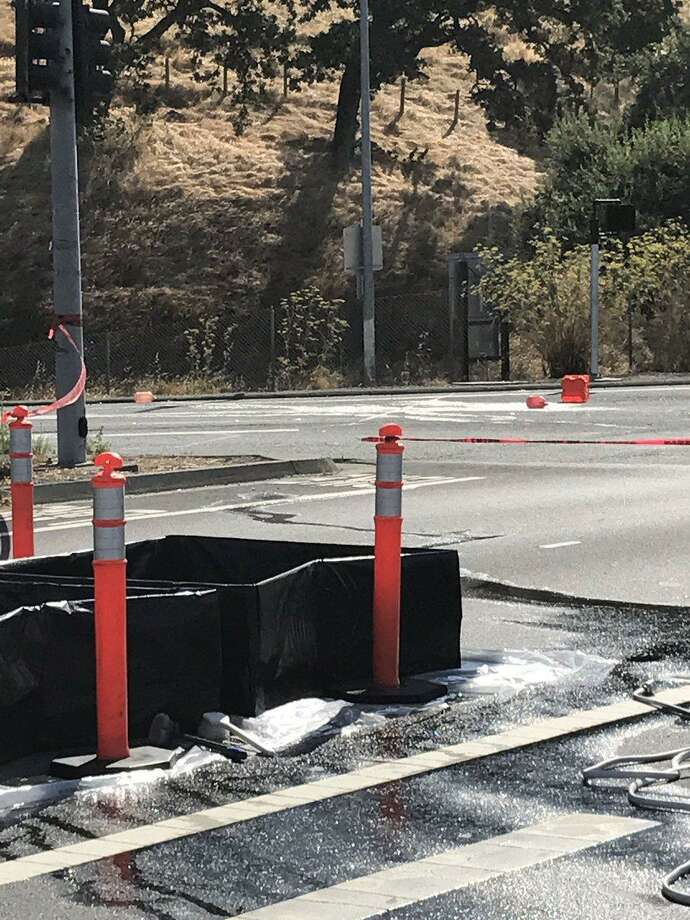 Acid spilled onto Highway 101 in Novato, fire officials said. Photo: Novato Fire District