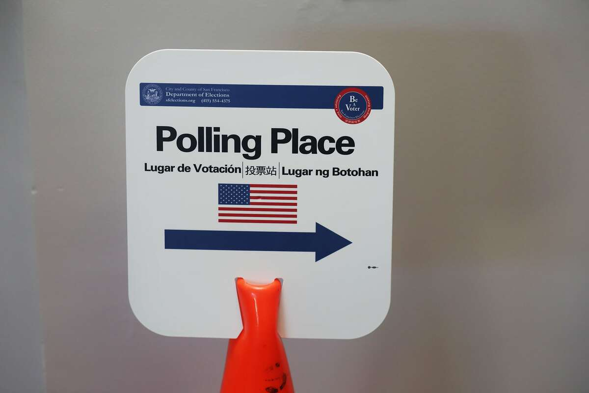 A polling place sign is seen outside of a polling place on Tuesday, November 3, 2015 in San Francisco, Calif.