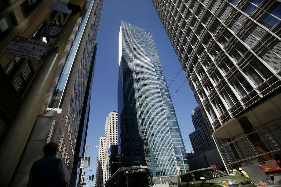 Millennium Tower, seen from Mission Street, has been slowly sinking right from the start — 17 inches — plus a northern tilt. Photo: Lea Suzuki, The Chronicle
