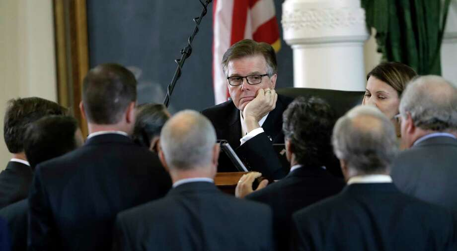 Lt. Gov. Dan Patrick, center, listens to fellow lawmakers during a point of order discussion in the Senate chambers. Photo: Eric Gay, STF / Copyright 2017 The Associated Press. All rights reserved.