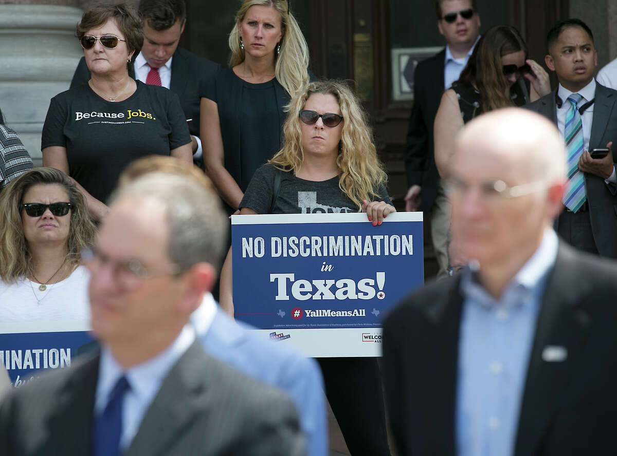 Texas business and tourism representatives gathered at the state Capitol on Monday to urge lawmakers not to approve bathroom bill.