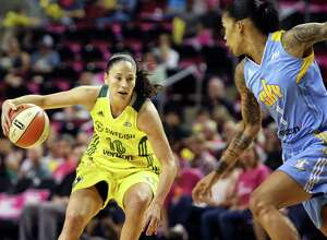 Seattle's Sue Bird (10) drives towards the basket during the Storm's game against the Chicago Sky, Tuesday, July 18, 2017 at KeyArena.