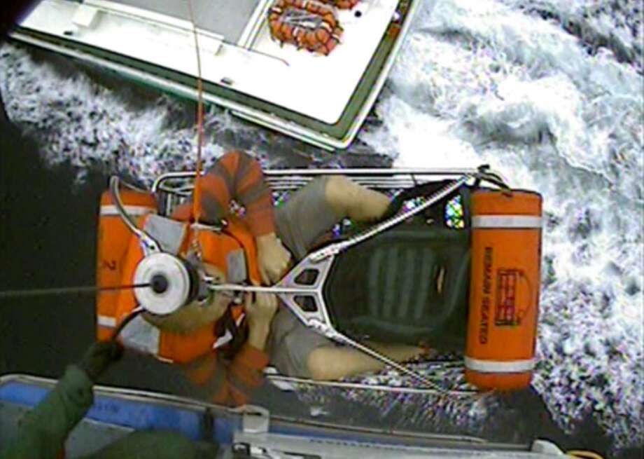 The Coast Guard rescued a man from a fishing boat about 80 miles off Galveston. Photo: Coast Guard