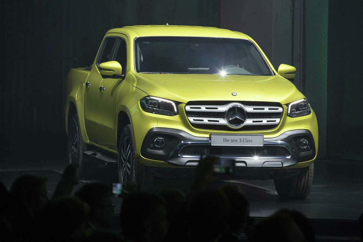 A Mercedes-Benz X-Class pickup stands on display Tuesday during a launch event in Cape Town, South Africa.