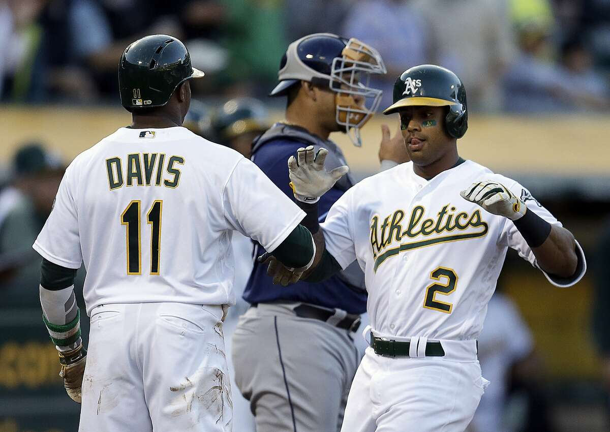 Oakland Athletics' Khris Davis, right, celebrates with Rajai Davis (11) after hitting a two-run home run off Tampa Bay Rays' Blake Snell during the first inning of a baseball game Tuesday, July 18, 2017, in Oakland, Calif. (AP Photo/Ben Margot)