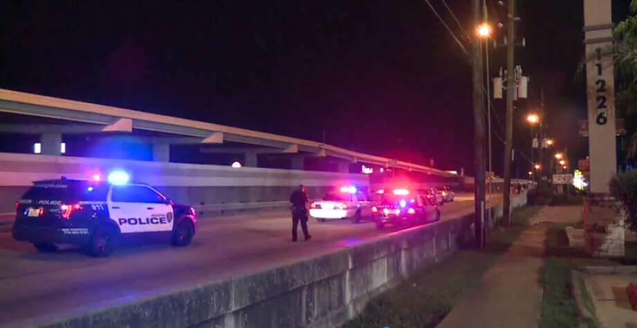 Police are looking for the driver of a car that slammed into two people early Wednesday along the I-69 feeder road near Bellfort. One of the people, a man, was killed. (Metro Video) Photo: Metro Video