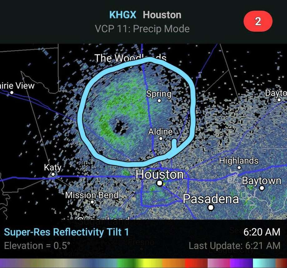 """These KHGX radar images, posted on Facebook by the National Weather Service on July 19, show a """"roost ring,"""" a flock of birds so large it appears on weather radar. The roost ring appeared early Wednesday morning. Photo: National Weather Service"""