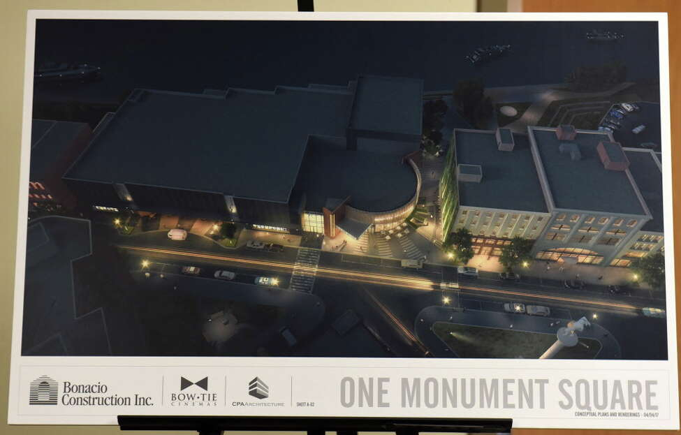 Renderings are seen at a meeting where Bonacio Construction and Bow Tie presented a proposed square movie theater project to the City Council Planning and Economic Development Committee at City Hall Wednesday, April 5, 2017 in Troy, N.Y. Keep clicking to see how Troy has changed through the years. (Lori Van Buren / Times Union)