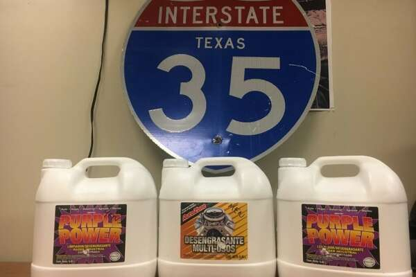 A total of 75 pounds of liquid meth was discovered hidden in cleaning jugs July 12, 2017 in Austin, police there said.