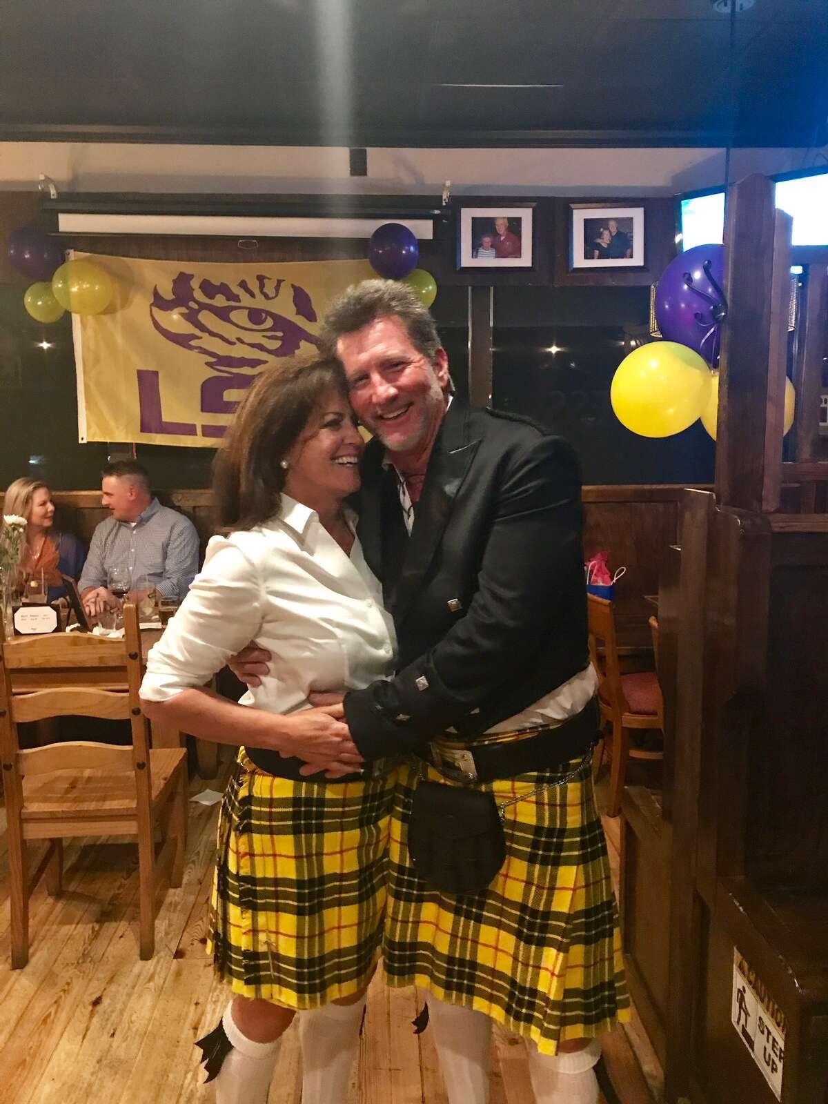 Wearing matching kilts, relatively new spouses, KSAT noon and 5 p.m. anchor Ursula Pari and Patrick MacLeod, also enjoyed adult time in Florida, celebrating MacLeod's Scottish roots.