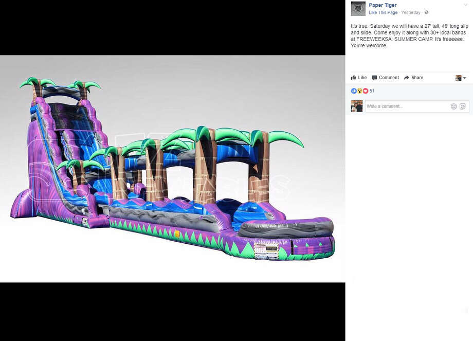 """Paper Tiger: """"It's true. Saturday we will have a 27' tall; 48' long slip and slide. Come enjoy it along with 30+ local bands at FREEWEEKSA: SUMMER CAMP. It's freeeeee. You're welcome."""" Photo: Facebook/Paper TIger"""