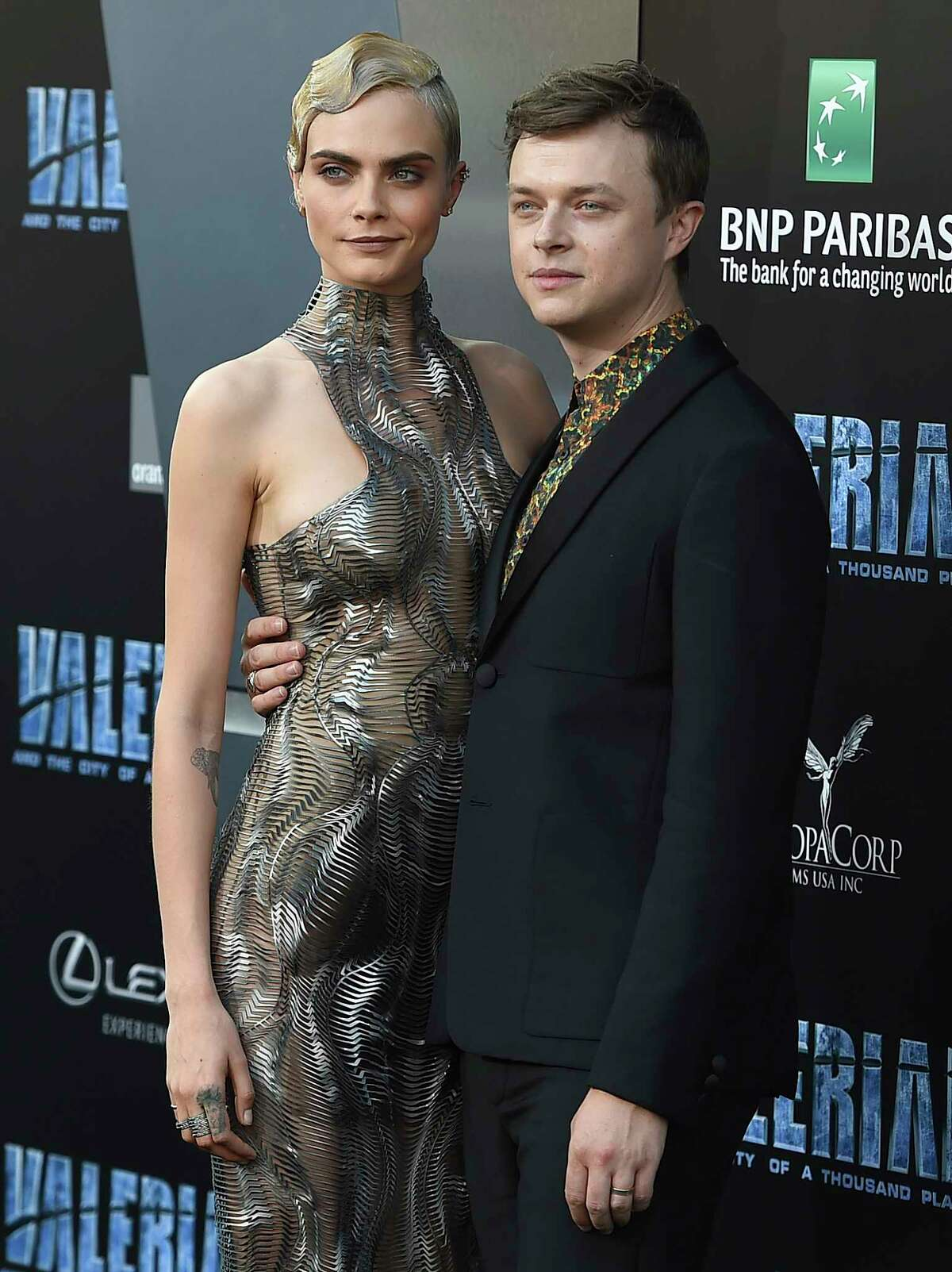 """Cara Delevingne and Dane DeHaan arrive at the LA Premiere of """"Valerian and the City of a Thousand Planets"""" at the TCL Chinese Theatre on Monday, July 17, 2017, in Los Angeles. (Photo by Jordan Strauss/Invision/AP) ORG XMIT: CAJS111"""