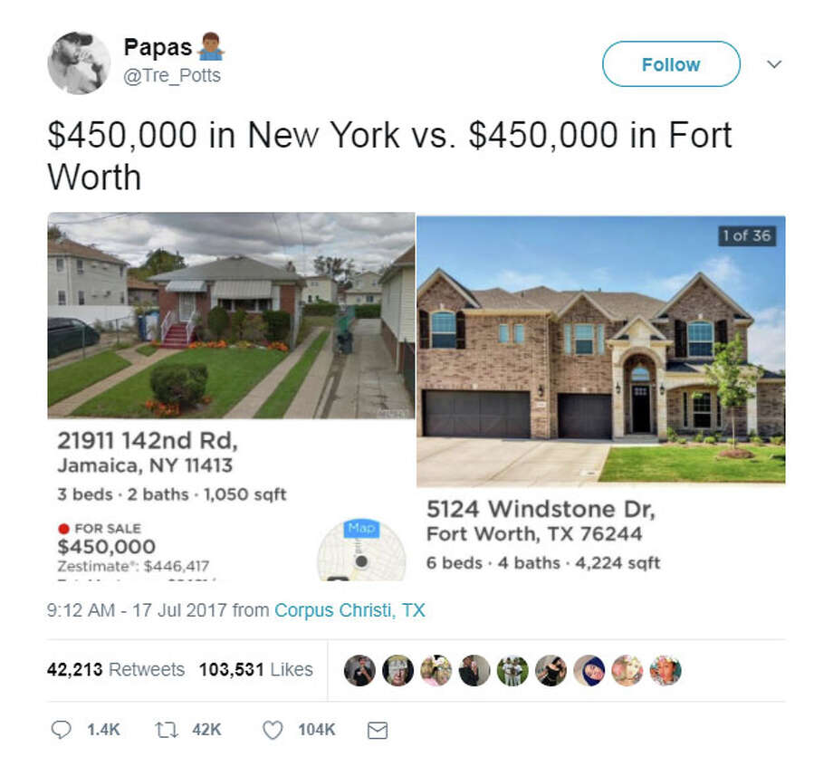 Twitter user, @Tre_Potts, viral tweet on Monday has led to an online war between defenders of each state. Photo: Twitter.com/Tre_Potts