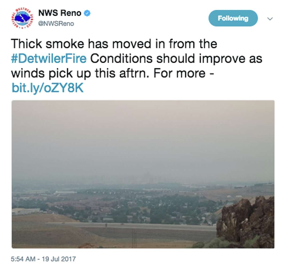 The National Weather Service shared news of a smoke-filed sky in Reno, Nev., on Twitter on July 19, 2017. Smoke from the Detwiler Fire in Mariposa County has blown into the Tahoe Basin, Reno and Carson Valley.