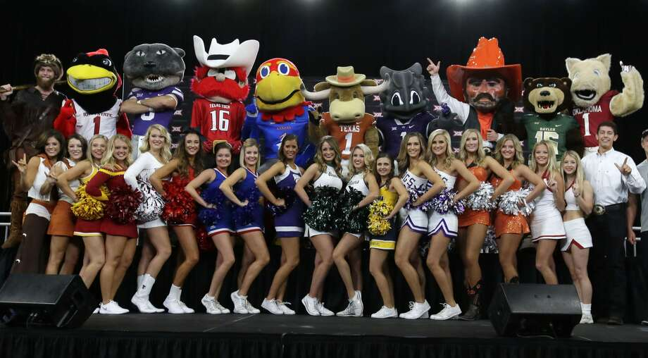 Mascots and cheerleaders pose for a photo during the Big 12 NCAA college  football media day in Frisco, Texas, Tuesday, July 18, 2017. (AP  Photo/LM Otero)