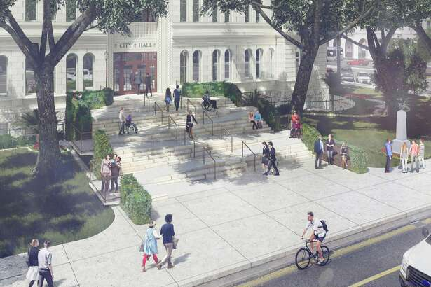 """San Antonio officials have received 22 proposals from 20 design firms for its """"City Hall for All"""" competition, which calls on participants to propose ways to open the front entrance facing Flores Street to those with wheelchairs and walkers. The designs are on display through July 31 at the American Institute for Architects Center for Architecture Gallery."""