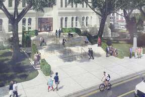 "San Antonio officials have received 22 proposals from 20 design firms for its ""City Hall for All"" competition, which calls on participants to propose ways to open the front entrance facing Flores Street to those with wheelchairs and walkers. The designs are on display through July 31 at the American Institute for Architects Center for Architecture Gallery."