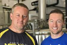 Patrick Casciolo (left) and Michael Bushnell, owners of Lock City Brewing Co. in Stamford, Conn.