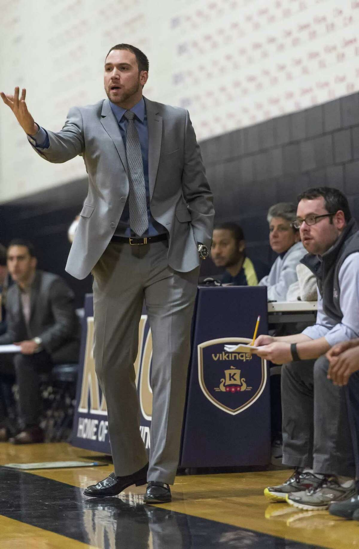 St Luke's School head coach Drew Gladstone during a boys basketball game against King School played at King School, Stamford, CT Thursday, December 10, 2015.