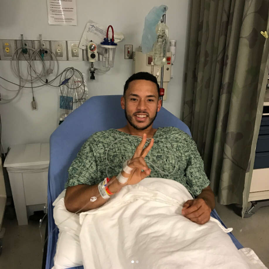 The Astros' Carlos Correa posted this photo to Instagram after his surgery on Wednesday. Photo: Instagram.com/teamcjcorrea