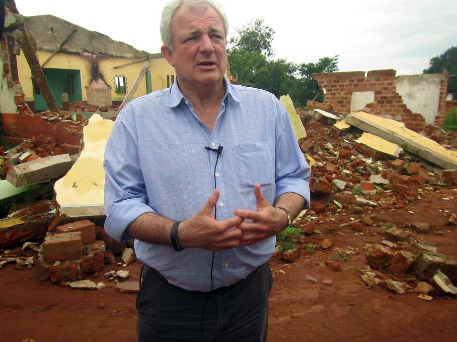 U.N. humanitarian chief Stephen O'Brien speaks to reporters during a visit to the violence-torn Central African Republic city of Bangassou. Photo: Hyppolite Marboua, Associated Press