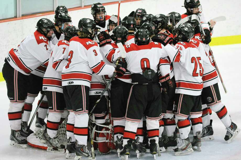 The New Canaan High School boys hockey team during the FCIAC boys ice hockey semifinal game between Greenwich High School and New Canaan High School at Terry Conners Rink in Stamford March 1. Photo: Bob Luckey Jr. / Hearst Connecticut Media / Greenwich Time