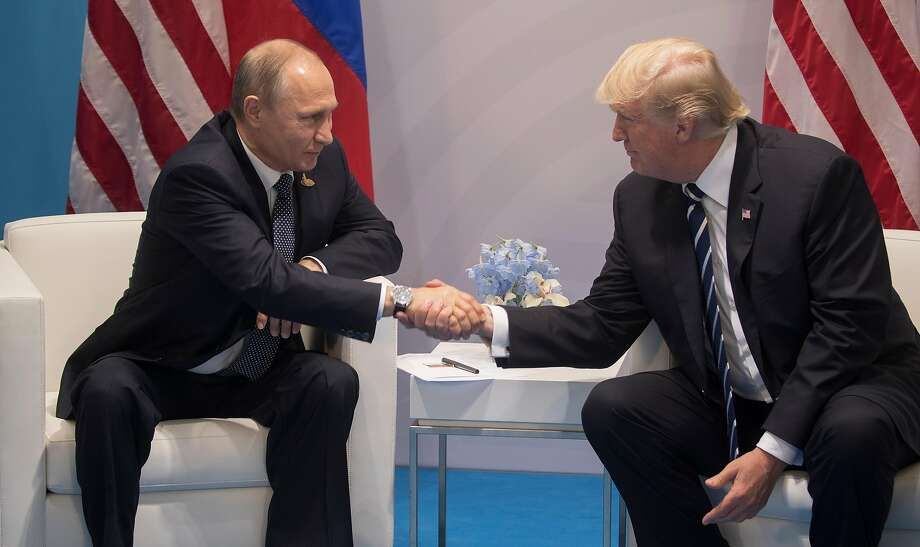 Russian President Vladimir Putin and president Trump held an official meeting before their previously undisclosed talk. Photo: STEPHEN CROWLEY, NYT