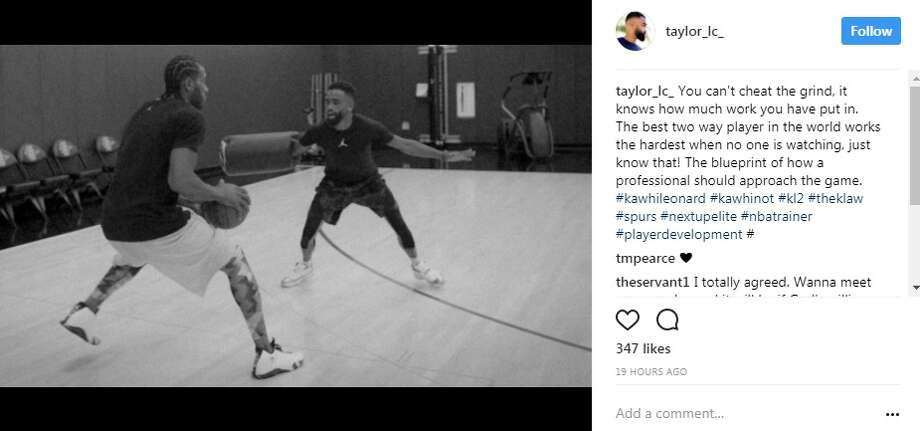 An Instagram photo posted by @taylor_lc_, who identifies as the CEO and NBA skills coach and for NextUpElite, shared a photo of himself going one-on-one with Kawhi Leonard.