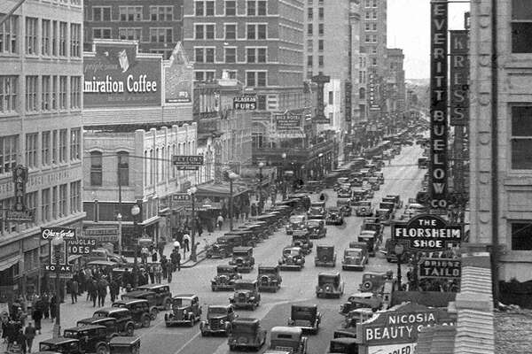 Main Street looking north from Rusk Avenue, 1930s.  See more photos of Houston from this era at The Sloane Collection.
