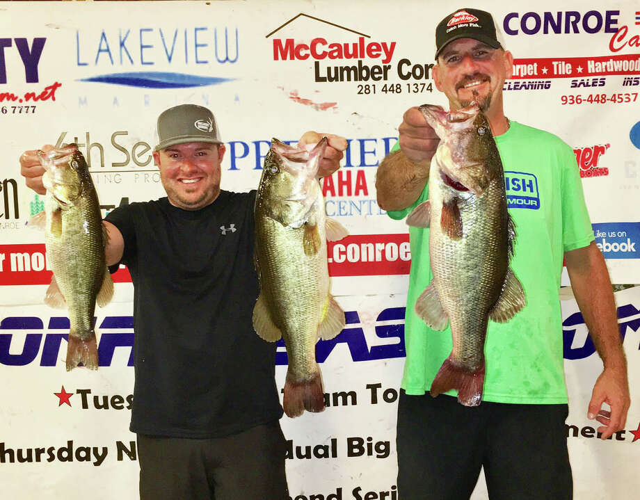 Julian Clepper and Tony Murray came in second place in the CONROEBASS Tuesday Night Tournament with a weight of 12.58 pounds. Photo: CONROEBASS