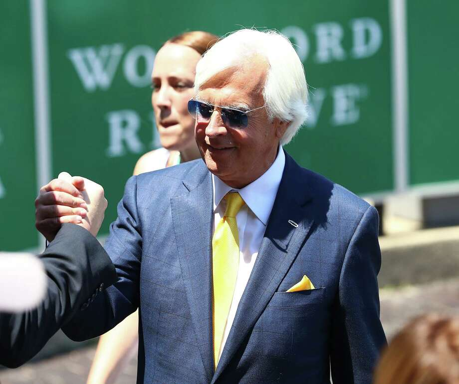 ELMONT, NY - JUNE 10: Trainer Bob Baffert celebrates winning the Acorn with Mike smith up riding  Abel Tasman  at Belmont Park on June 10, 2017 in Elmont, New York.  (Photo by Nicole Bello/Getty Images) ORG XMIT: 700044846 Photo: Nicole Bello / 2017 Getty Images