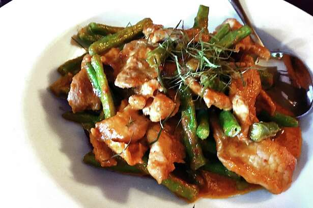 Green beens and chicken curry with sliced lime leaves -- also called pad prik king -- from Thai Dee.