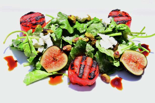 Grilled watermelon salad at Mio Posto in Albany. (Photo by Steve Barnes/Times Union.)