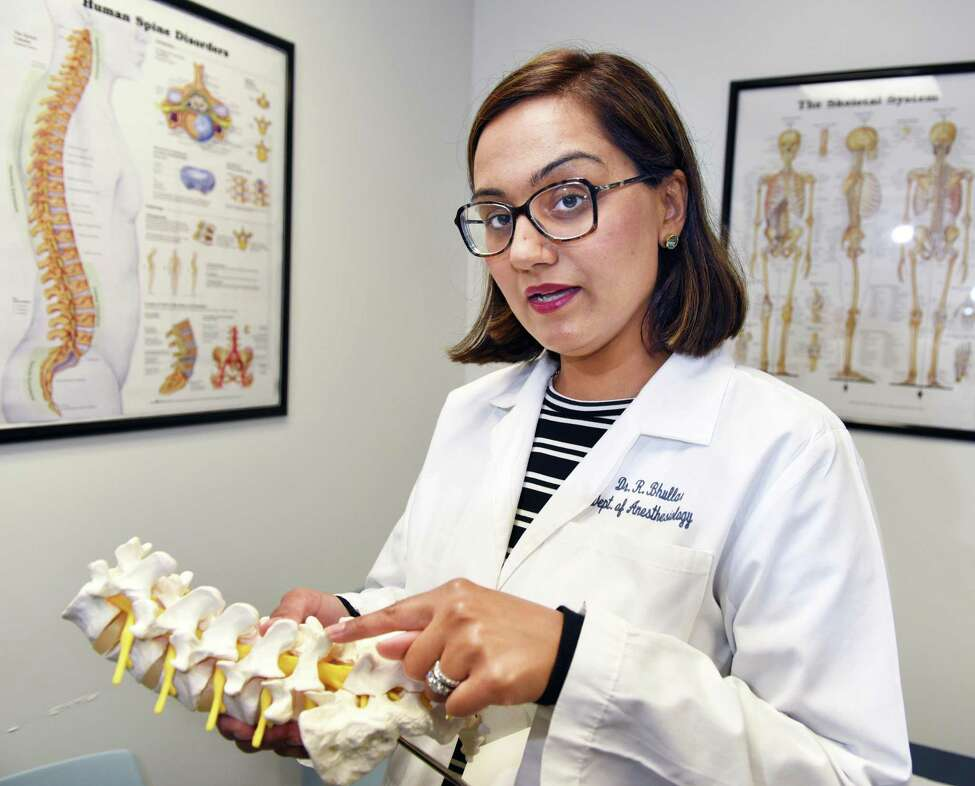 Dr. Ravneet Bhullar, anesthesiologist, and director of the Division of Chronic Pain Management at Albany Med's Comprehensive Spine Center Tuesday June 20, 2017 in Albany, NY. (John Carl D'Annibale / Times Union)