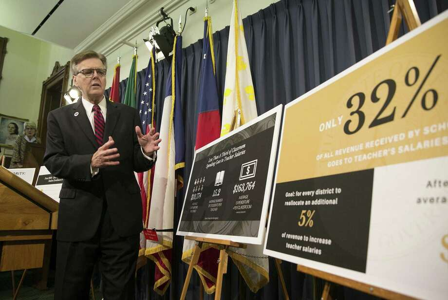 Texas Lt. Gov. Dan Patrick discusses his special session plan to boost teacher pay during a press conference at the Capitol July 13, 2017. This session Patrick is seeking $5,000 raises for teachers. Photo: Deborah Cannon /Associated Press / Internal