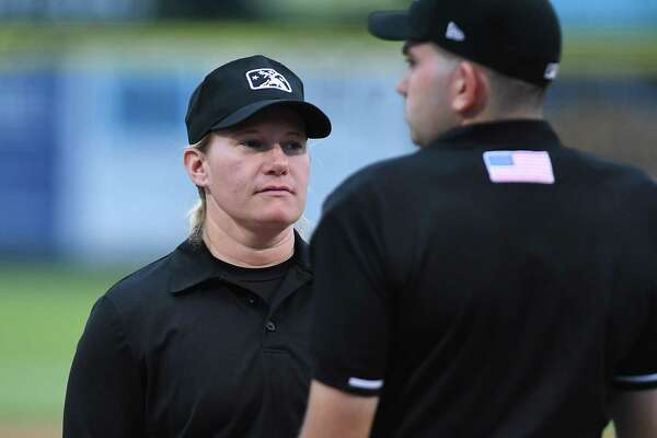 Umpire Jennifer Pawol talks to another umpire before a Tri-City ValleyCats baseball game against the Connecticut Tigers at Joe Bruno Stadium on Monday, July 17, 2017 in Troy, N.Y. (Lori Van Buren / Times Union)