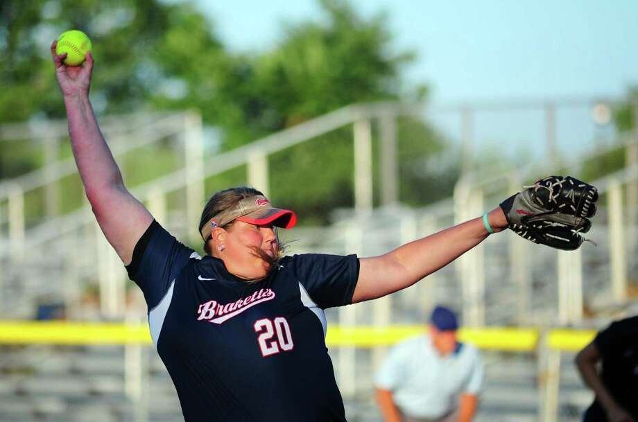 Brakette's pitcher Brandice Balschmiter during softball action against against Rock Gold at DeLuca Field in Stratford, Conn., on Saturday July 15, 2017. Photo: Christian Abraham / Hearst Connecticut Media / Connecticut Post