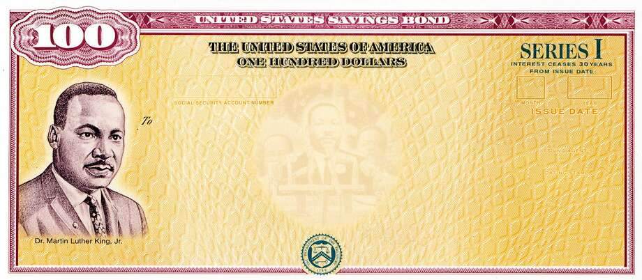 A $100 US savings bonds which features an image of Dr. Martin Luther King Jr. It is one of eight savings bonds issued to honor Americans who contributed to the history and diversity of the United States. Photo: U.S. Department Of The Treasury
