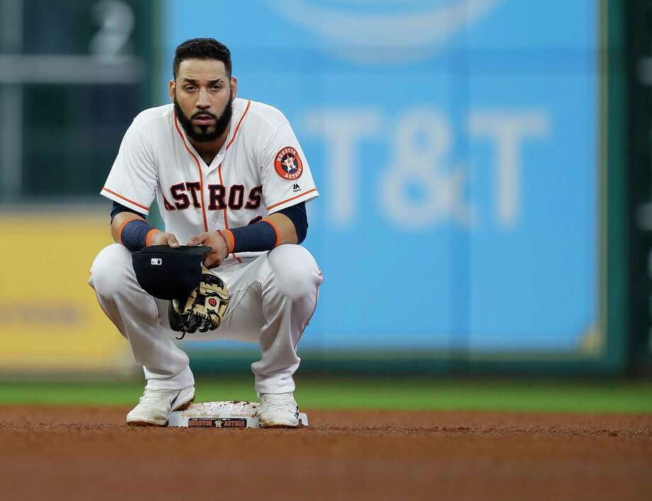 Houston Astros shortstop Marwin Gonzalez (9) sits on second base during a challenged play during the sixth inning of an MLB baseball game at Minute Maid Park, Wednesday, July, 19, 2017. ( Karen Warren / Houston Chronicle ) Photo: Karen Warren, Staff Photographer / 2017 Houston Chronicle