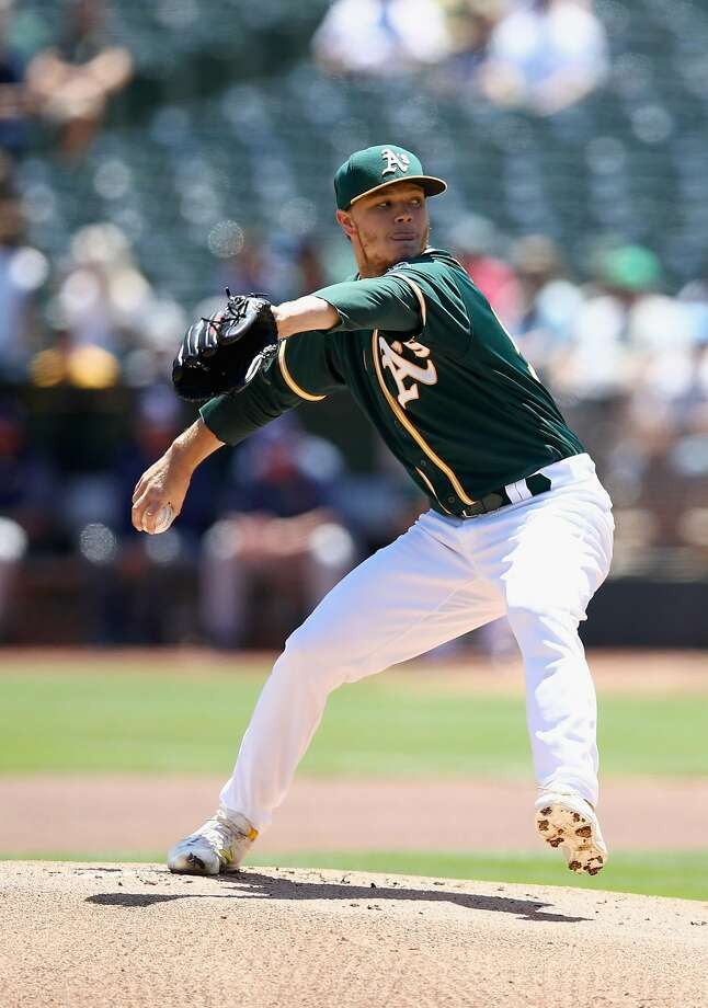 OAKLAND, CA - JULY 19:  Sonny Gray #54 of the Oakland Athletics pitches against the Tampa Bay Rays in the first inning at Oakland Alameda Coliseum on July 19, 2017 in Oakland, California.  (Photo by Ezra Shaw/Getty Images) Photo: Ezra Shaw, Getty Images