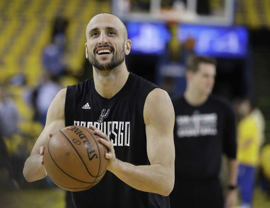 Spurs' Manu Ginobili warms up for Game 2 of the Western Conference final against the Golden State Warriors, in Oakland, Calif., on May 16, 2017. Photo: Marcio Jose Sanchez /Associated Press / Copyright 2017 The Associated Press. All rights reserved.