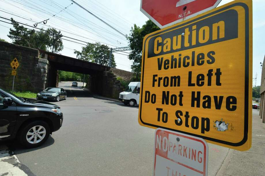 The three-way intersection at Fort Point Street and South Smith Street in Norwalk, where proposed all-way stop signs will be placed. Photo: Alex Von Kleydorff / Hearst Connecticut Media / Norwalk Hour